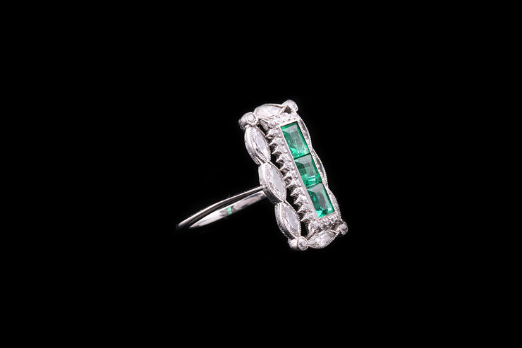 18ct White Gold and Platinum Emerald and Diamond Dress Ring