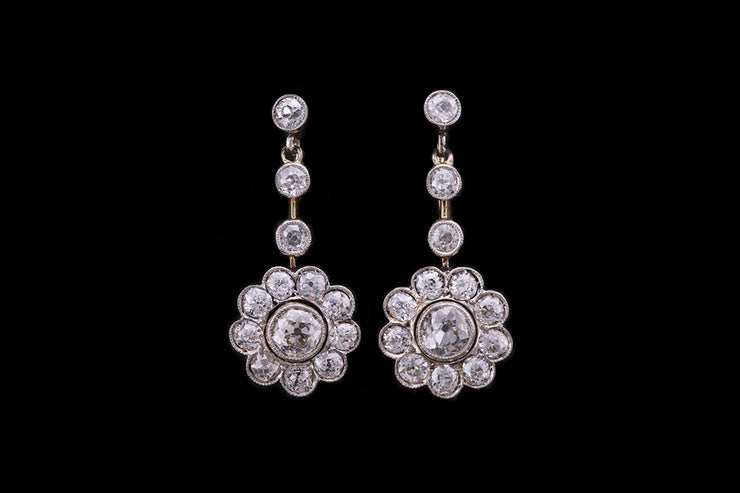18ct Yellow and White Gold Diamond Cluster Flower Drop Earrings
