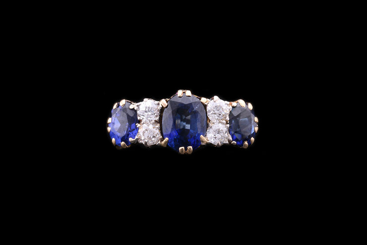 18 ct Yellow Gold Sapphire and Diamond Seven Stone Ring