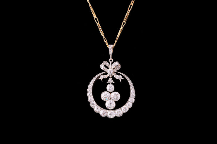Belle Epoque Style 18 ct Yellow Gold Diamond Pendant