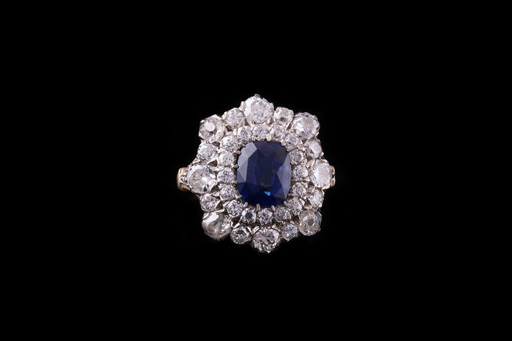 18ct Yellow Gold and Silver Sapphire and Diamond Double Cluster Ring