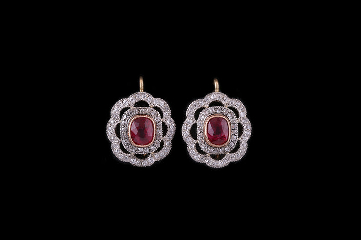 18ct Yellow and White Gold Ruby and Diamond Scalloped Edge Earrings