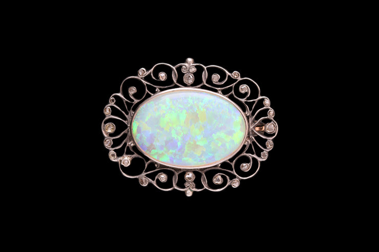 Yellow Gold and SIlver Precious Opal and Diamond Brooch