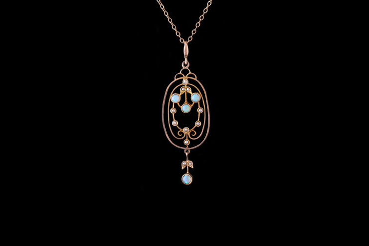 9ct Yellow Gold Opal and Pearl Pendant