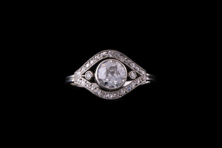 French Platinum Diamond Dress Ring