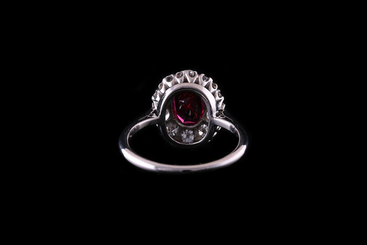 18ct White Gold and Platinum Ruby and Diamond Cluster Ring