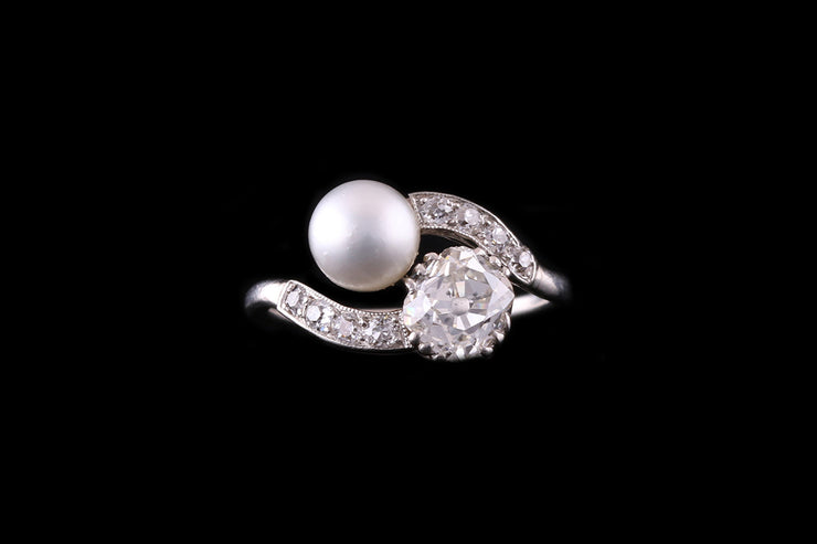 Platinum Diamond and Pearl Two Stone Ring