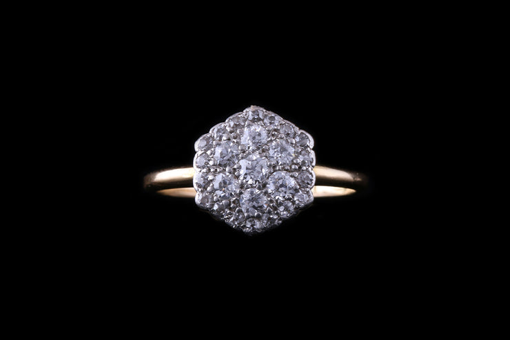 18ct Yellow Gold and Platinum Diamond Pave Set Ring