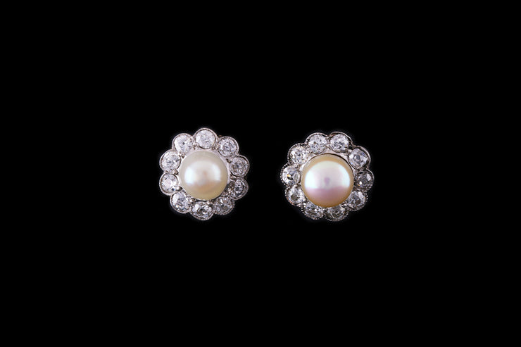 18ct White Gold Diamond and Pearl Cluster Earrings