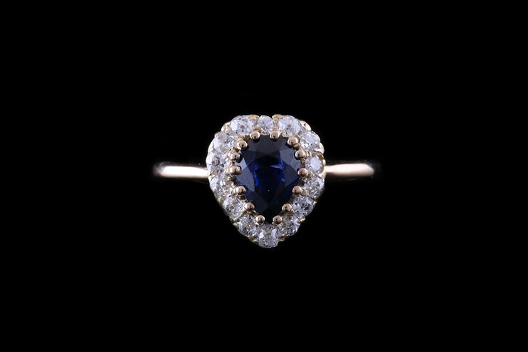 18ct Yellow Gold Sapphire and Diamond Heart Cluster Ring