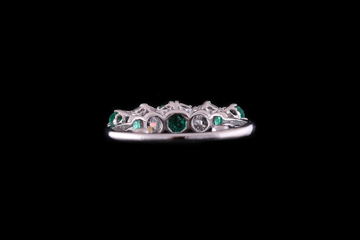 18 ct White Gold Emerald and Diamond Five Stone Ring