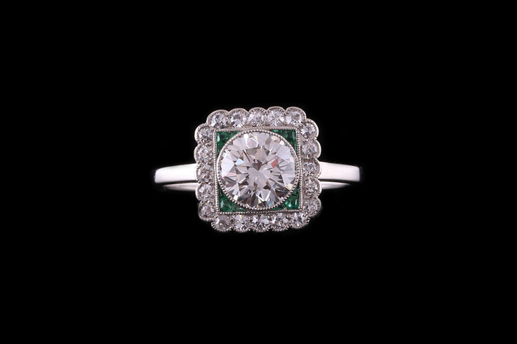 18ct White Gold Diamond and Emerald Square Dress Ring
