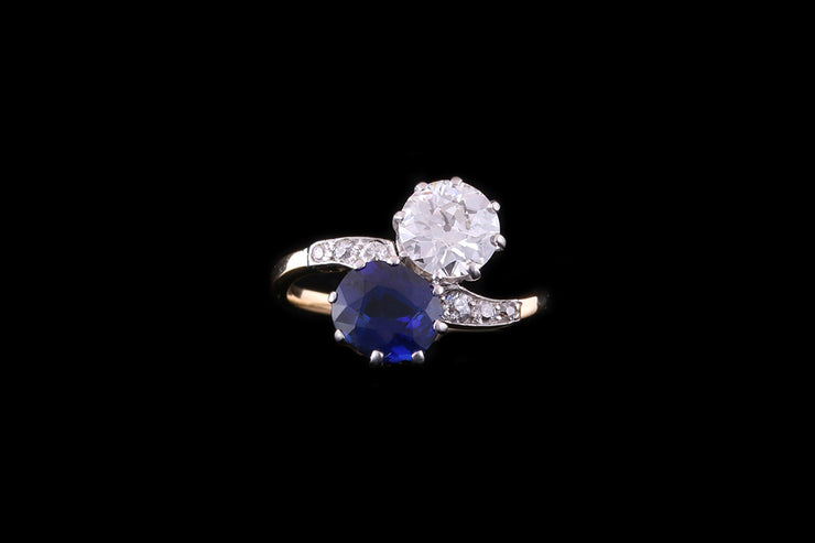 18ct Yellow Gold Sapphire and Diamond Twist Ring