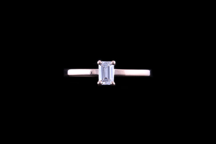 18ct Rose Gold Emerald Diamond Single Stone Ring