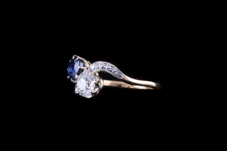 18ct Yellow Gold Sapphire and Diamond Two Stone Twist Ring