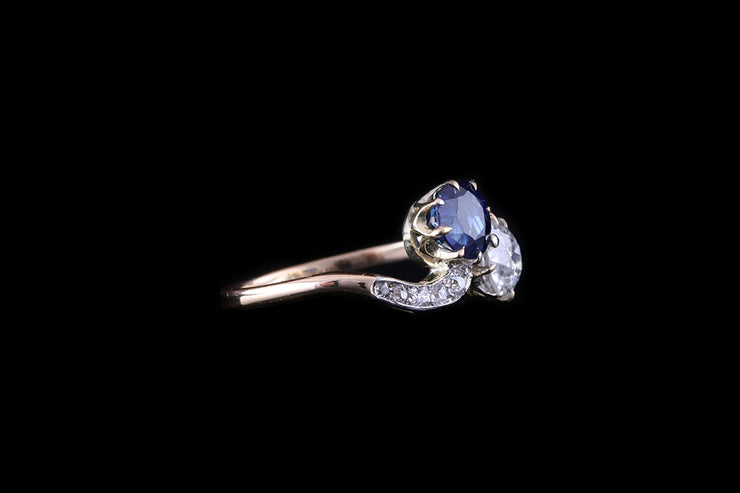 18 ct Yellow Gold Sapphire and Diamond Two Stone Twist Ring
