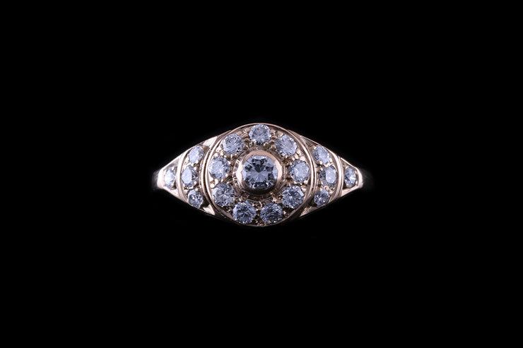 14ct Rose Gold Diamond Bombe Style Ring