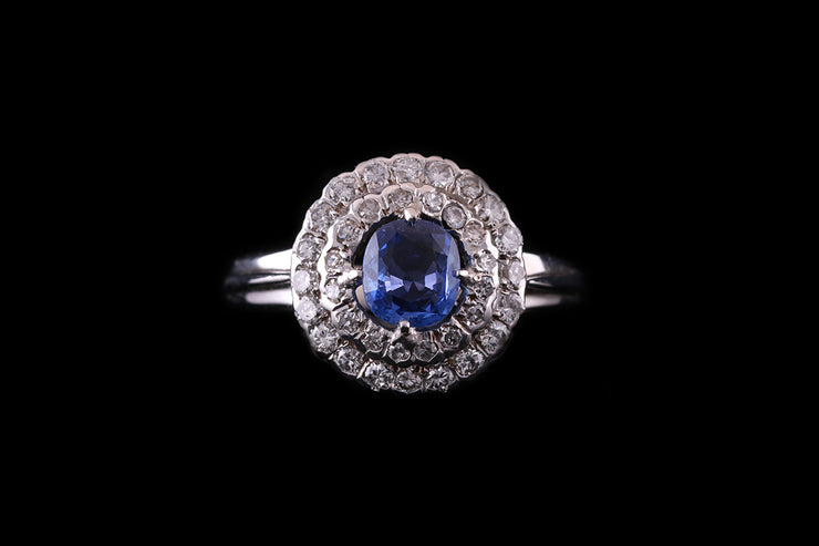 18ct White Gold Diamond and Sapphire Double Cluster Dress Ring