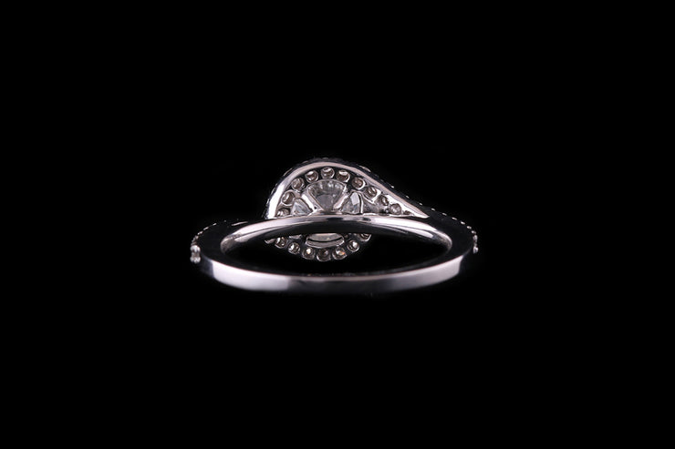 18ct White Gold Diamond Single Stone Twist Ring