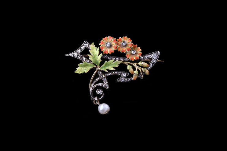 18 ct Yellow Gold and Silver Diamond and Enamel Floral Brooch