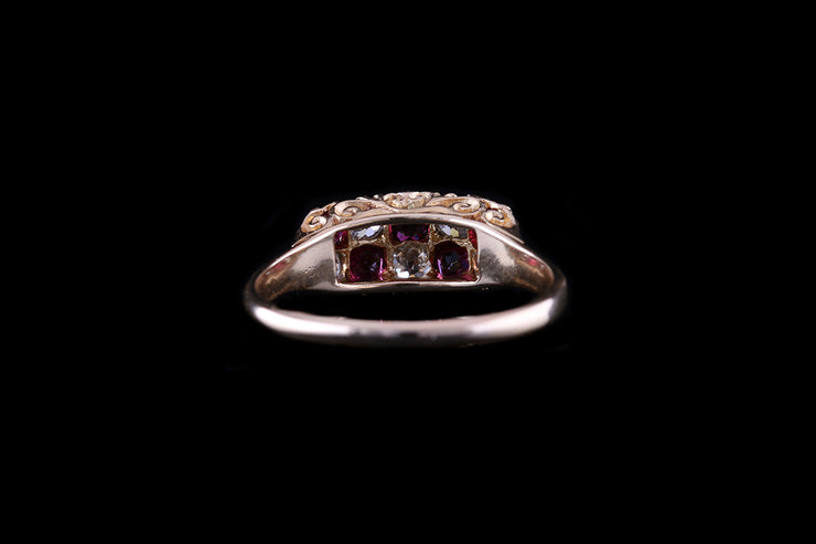 18ct Yellow Gold Ruby and Diamond Double Row Ring