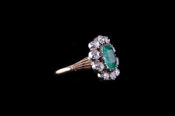 18 ct Yellow Gold Emerald and Diamond Cluster Ring
