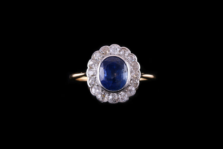 18ct Yellow Gold Sapphire and Diamond Oval Cluster Ring