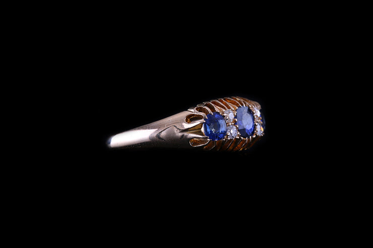 18ct Yellow Gold Sapphire and Diamond Seven Stone Ring