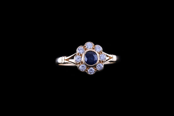 18 ct Yellow Gold Sapphire and Diamond Cluster Ring