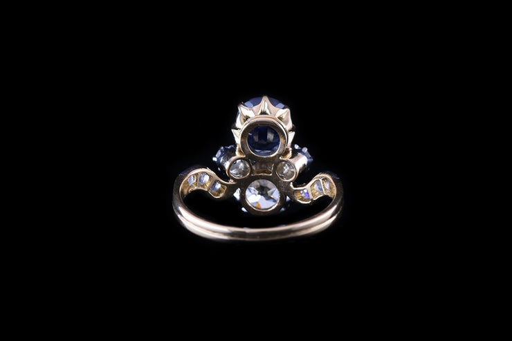 18ct Yellow Gold Sapphire and Diamond Two Stone Ring
