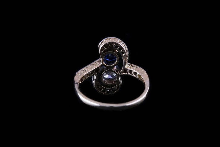 18 ct Yellow Gold and Platinum Diamond Sapphire Two Stone Twist Ring