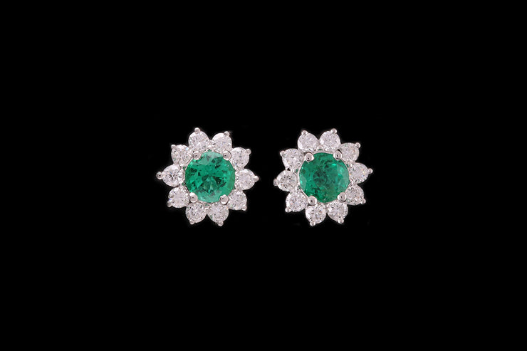 18ct White Gold Emerald and Diamond Star Cluster Stud Earrings