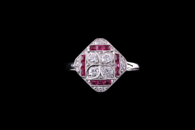 18ct White Gold and Platinum Diamond and Ruby Dress