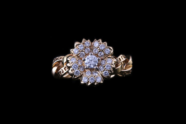 Versace 18ct Yellow Gold Diamond Flower Cluster Ring