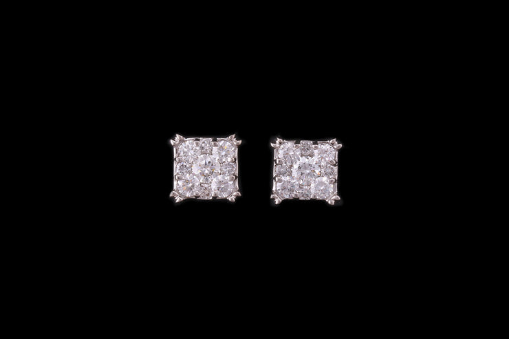 18ct White Gold Tile Square Shape Stud Earrings