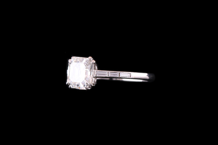 Platinum Diamond Asscher Cut Single Stone Ring