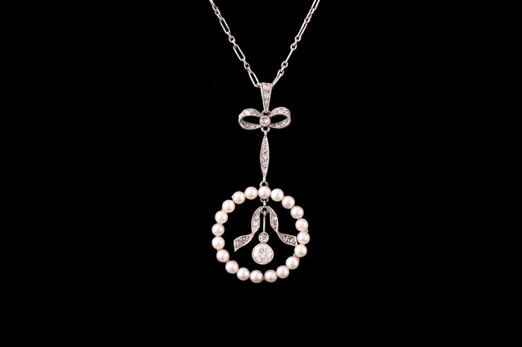 Platinum and 18ct Yellow Gold Diamond and Pearl Pendant