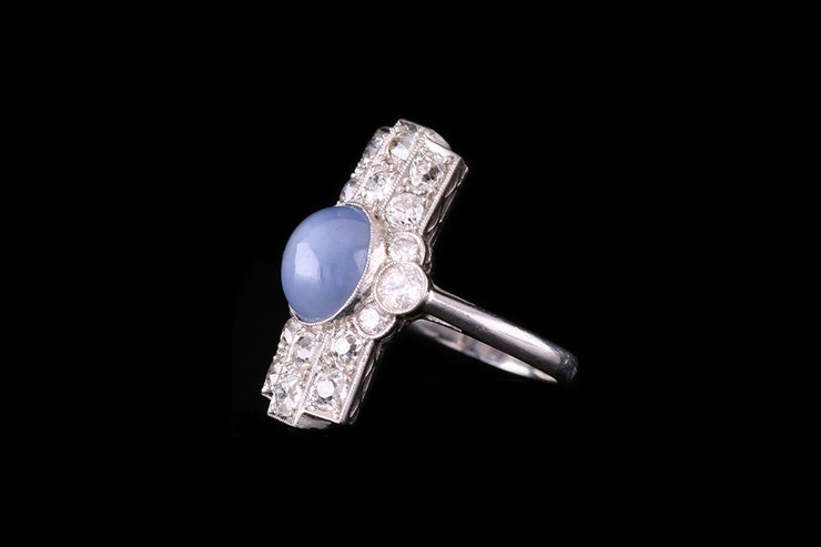 Platinum Star Sapphire and Diamond Dress Ring