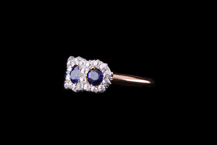 18ct Yellow Gold Sapphire and Diamond Triple Cluster Ring