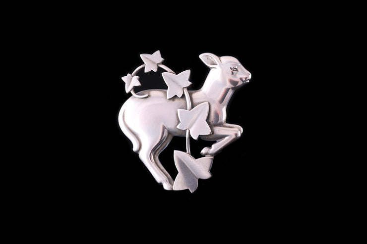 Georg Jensen Sterling Silver Lamb and Ivy Brooch
