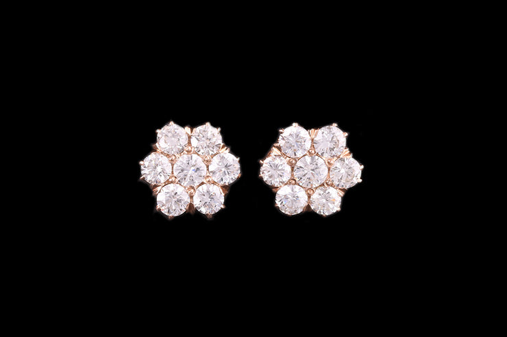 18ct Yellow Gold Diamond Cluster Earrings
