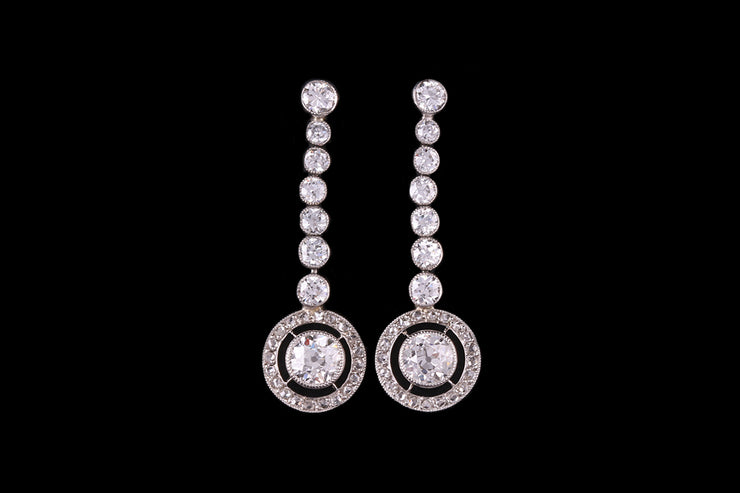 18ct White Gold Diamond Target Drop Earrings