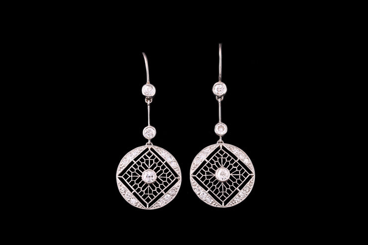 18ct White Gold Diamond Circular Drop Earrings