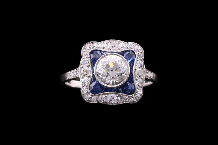 Platinum French Sapphire & Diamond Square Cluster Ring