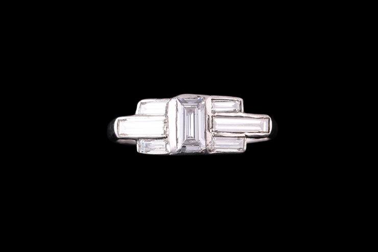 14ct White Gold Emerald Cut and Baguette Shoulders Ring