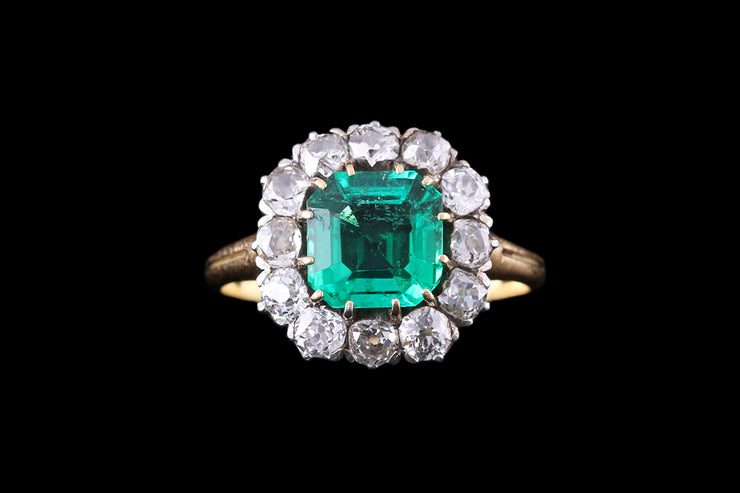 18ct Yellow Gold and Silver Diamond and Emerald Square Cushion Ring