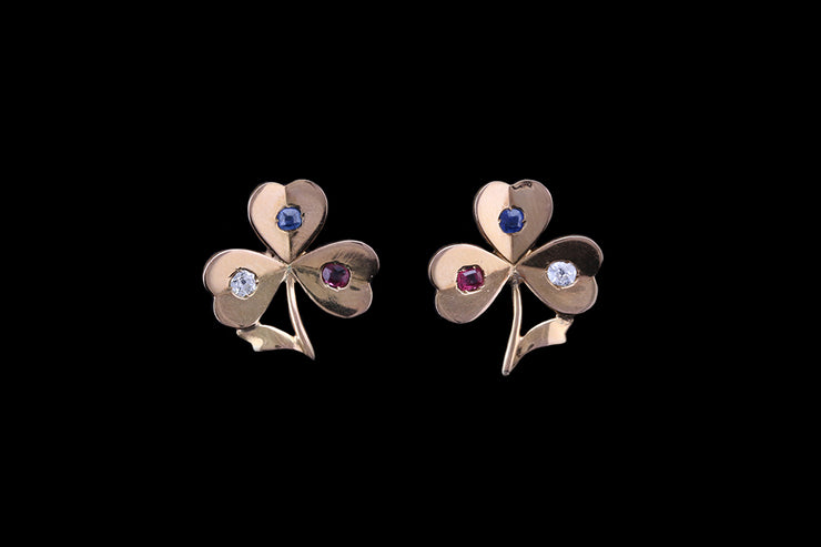 14ct Yellow Gold Ruby, Sapphire & Diamond Three Leaf Clover Ear Studs