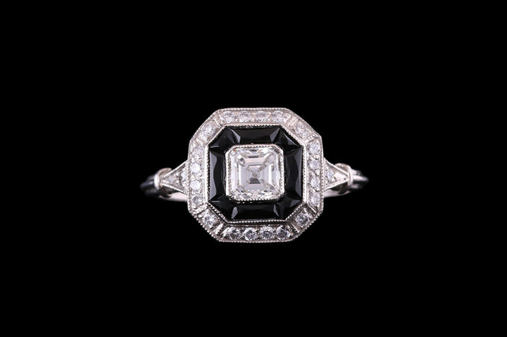 Platinum Diamond & Onyx Square Dress Ring