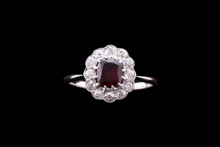 Platinum Garnet & Diamond Cluster Ring