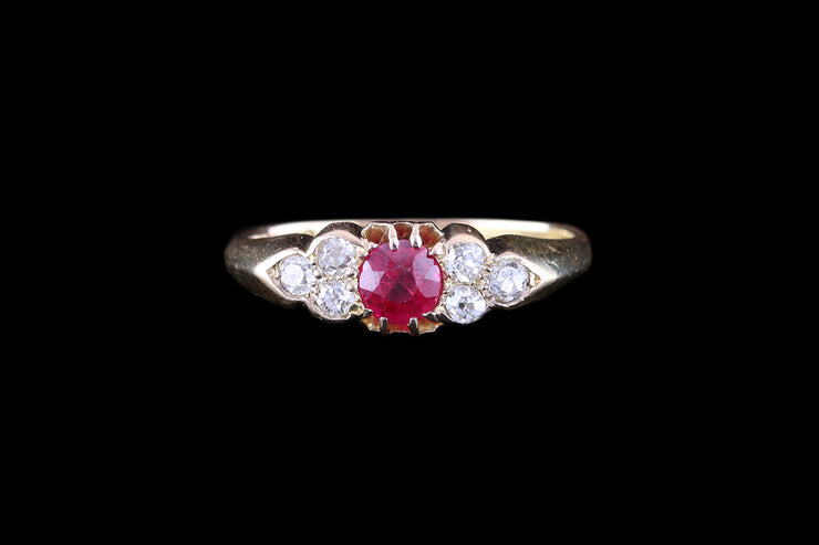 18ct Yellow Gold Ruby & Diamond Seven Stone Ring